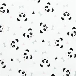 Tissu coton panda rose et noir- 50 x 160 cm