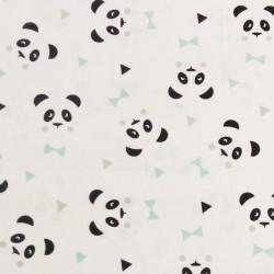 Tissu coton panda bleu menthe et noir