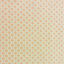 Tissu coton 100% BIO écru petites fleurs oranges et bleues