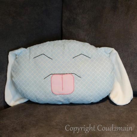 Kit couture écolo coussin lapin Toudou - tissu bleu nuages