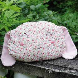 Kit couture bio coussin lapin Toudou - tissu petites fleurs rose inspiration Liberty - EDITION LIMITEE