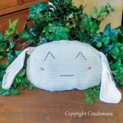 Kit couture bio coussin lapin Toudou - tissu rayé bleu blanc