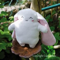 Kit couture doudou lapin souriant bio - 20 cm - corps blanc oreilles rose