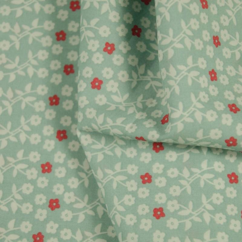 Tissu fleuri Susy Blue  coton BIO doux