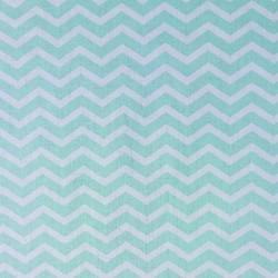 Tissu coton graphique chevrons menthe et blanc