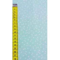 Tissu coton bleu menthe petits noeuds papillons blanc - 50 x 160 cm