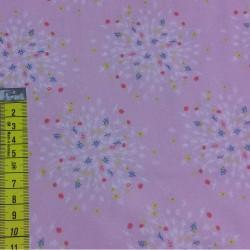 Tissu coton 100% BIO feu d artifices rose