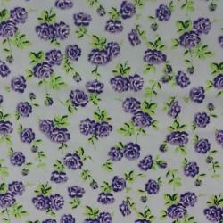 Tissu soyeux - coton 100% BIO petites roses violettes romantiques