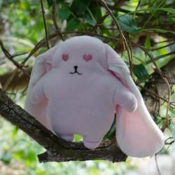 Kit couture bio et personnalisable  doudou lapin coeur- 20 cm - corps rose oreilles blanc