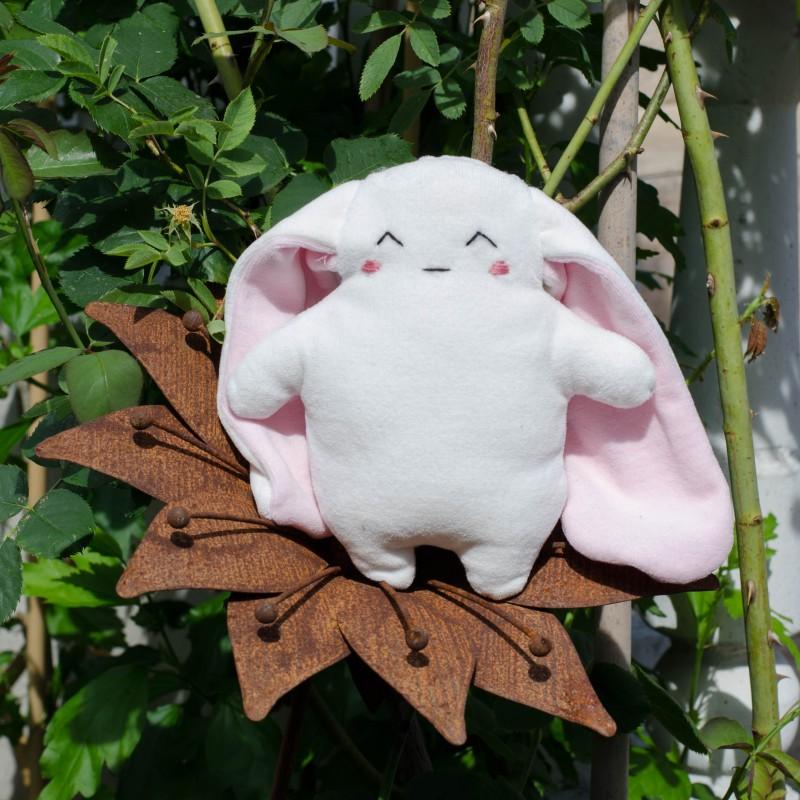 Kit couture bio et personnalisable  doudou lapin souriant- 20 cm - corps blanc oreilles rose