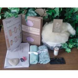 Kit couture bio coussin lapin Toudou - tissu gris étoiles blanches