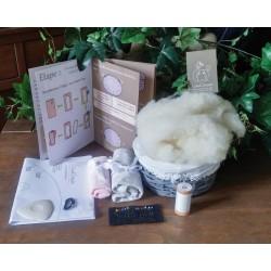 Kit couture bio coussin lapin Toudou - tissu beige étoiles blanches