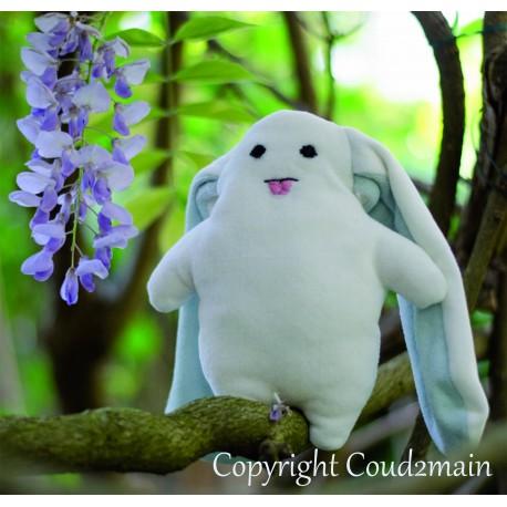 Kit couture bio et personnalisable doudou lapin Mimi langue- 20 cm - corps blanc oreilles bleu