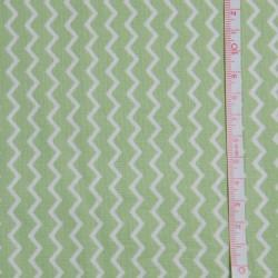 Tissu coton Gütermann chevrons vert et blanc Ring a roses - Collection Notting Hill